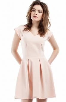 Moe MOE210 sukienka brzoskwiniowa Elegancka sukienka, wykonana z jednolitej dzianiny, dół rozkloszowany