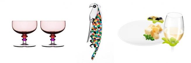 Pomysły na prezent ślubny: pucharki do lodów, korkociąg - papuga, klipsy na kieliszki