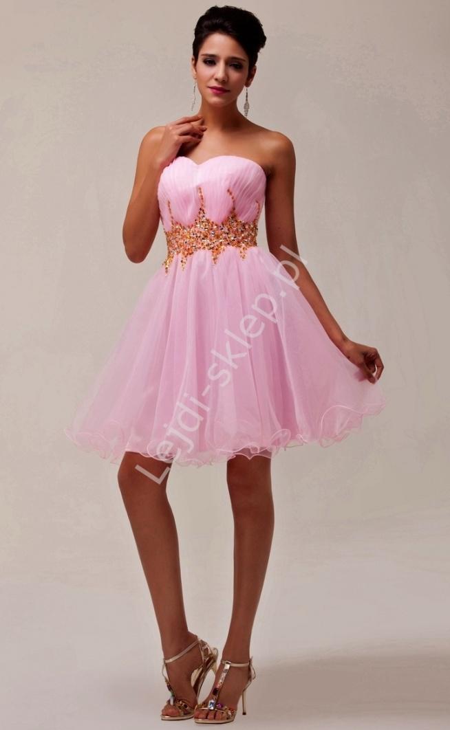 Sukienka z kryształkowym pasem   sukienka na wesele, studniówkę, komunie