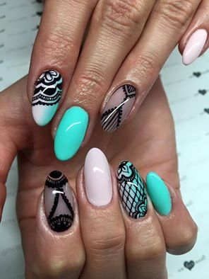 Co może powstać z połączenia lakierów hybrydowych w odcieniach Silk Touch, Baby Mint i Black Tulip?  Nails by Kamila Grochowska, SPN Nails Instructor