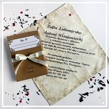 """Materiałowe zaproszenia ślubne """"Herbaciany adamaszek"""" z pudełeczkiem"""