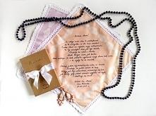 Bawełniana chusteczka z koronką i wzruszającym podziękowaniem dla mamy lub świadkowej