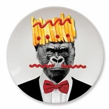 Duży ceramiczny talerz na imprezę. Talerz z nadrukiem goryla.  gadżety do domu ucieszy.pl nowoczesny wystrój wnętrz prezenty dla niego dla niej dla dzieci różne okazje urodziny ...