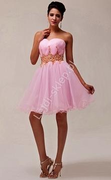 Sukienka z kryształkowym pasem | sukienka na wesele, studniówkę, komunie