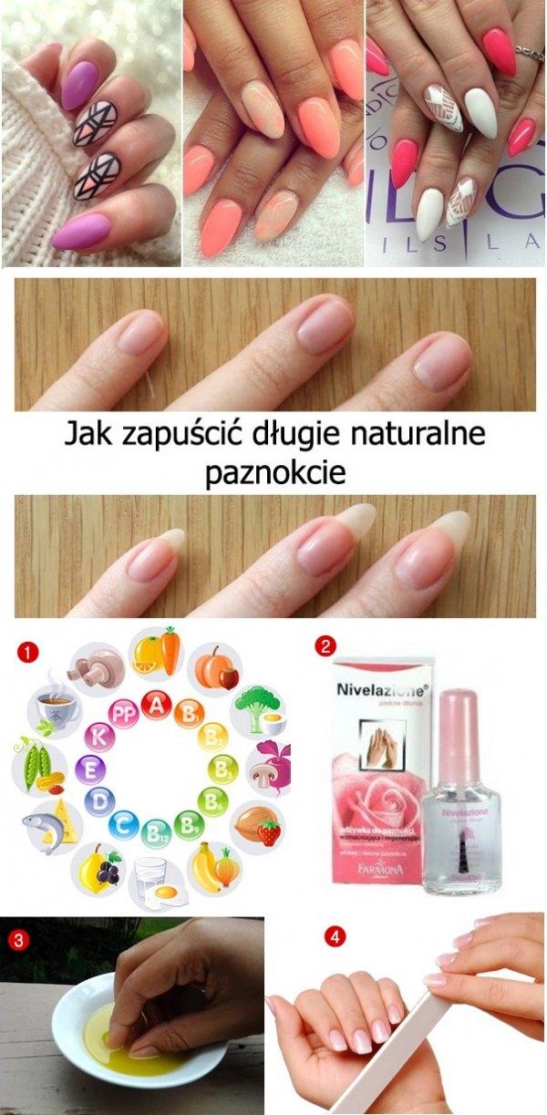 4 sprawdzone sposoby jak zapuścić długie naturalne paznokcie... Na pewno wiele z was ma problem z zapuszczeniem paznokci. Są one łamliwe, rozdwajają się i trzeba je obciąć. A to niestety psuje nam humor. Dlatego dzisiaj przedstawię wam 4 sposoby na zdrowe i długie paznokcie. 1... Witaminy – bardzo ważna jest witamina A, odpowiada ona za problemy z naszymi paznokciami oraz wzrokiem. Następną ważną witaminą jest witamina B, której najwięcej zawierają drożdże piwne, wątróbka, orzechy i produkty pełnoziarniste. Dla prawidłowego wzrostu paznokci ważnym minerałem jest także cynk. Niedobór cynku powoduje pojawianie się białych plamek na paznokciach. Najwięcej cynku zawierają ryby, owoce morza, słonecznik, jaja, dynia i mięso drobiowe. 2. Odżywki do paznokci... W celu wzmocnienia paznokci należy malować je specjalnymi odzywkami. np. odzywka Nivelazione czy Eveline 8in1 które przeznaczone są do rozdwajających, łamliwych i kruchych paznokci oraz np. Sally Hansen, Nailgrowth Miracle, która powoduje szybszy wzrost paznokci. Sprawia, że paznokcie są długie i się nie rozdwajają. 3. Polecam również domowe sposoby na piękne paznokcie. Jednym z nich jest moczenie naszych paznokci w oliwie z oliwek albo olejku rycynowym przynajmniej 2 razy w tygodniu oraz smarowanie paznokci sokiem z cytryny. 4. Piłowanie paznokci... Najlepiej piłować paznokcie szklanym, papierowym lub kamiennym pilnikiem. Nie polecam używania metalowych pilników, ponieważ powodują one rozdwajanie paznokci.