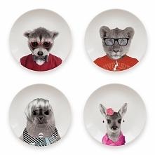 Komplet płaskich talerzy z grafiką dzikich zwierząt. Bardzo dobre jakościowo....