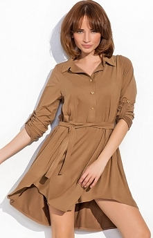 Numinou NU19 sukienka karmelowa Rewelacyjna sukienka, luźny koszulowy fason, długi rękaw z możliwością podwinięcia