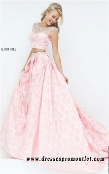 Two-Piece Beaded Textured Sleeved 2016 Pink Prom Dress By Sherri Hill 50197