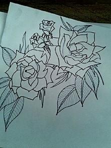 kolejne róże :-) 15x15 cm projekt na ramię