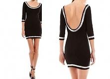 SPRZEDAM! Dopasowana, czarna sukienka zdobiona białymi koralikami, z dużym de...