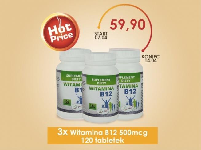 Witamina B12, zwana inaczej kobalaminą lub czerwoną witaminą. Witamina B12 odpowiedzialna jest za prawidłowe funkcjonowanie układu nerwowego. Jest niezbędna do prawidłowego funkcjonowania układu pokarmowego i krwionośnego. Witamina B12 pomaga w produkcji krwinek czerwonych. Przyczynia się do zniwelowania uczucia zmęczenia. Jest to suplement diety w formie tabletek, przeznaczony dla profesjonalnych sportowców.
