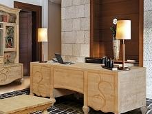 Eleganckie biurko Santana wykonane z drewna świerkowego, jodłowego i sosnowego. Cała kolekcja Santana oraz wiele więcej mebli dostępne na seart.pl
