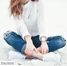 Klasyczne połączenia jeansu i bieli ️:) Sweterek/Bestseller/Ptak Outlet  Spod...