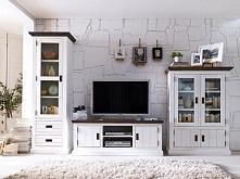 Biała szafka RTV wykonana z drewna akacjowego. Cała kolekcja oraz wiele więce...