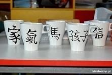 Kubki ręcznie malowane - znaki chińskie