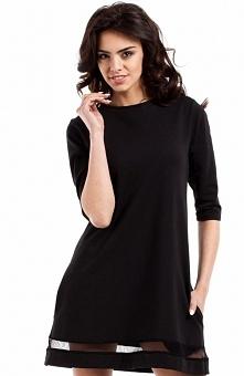 Moe MOE219 sukienka czarna Urocza sukienka, wykonana z jednolitej dzianiny, fason litery A