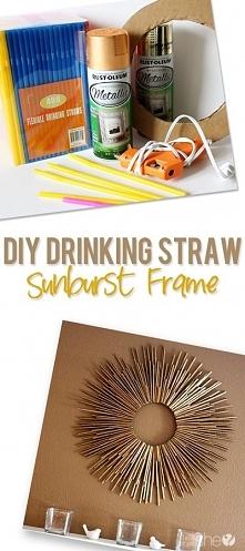 DIY rama ze słomek w kształcie słońca