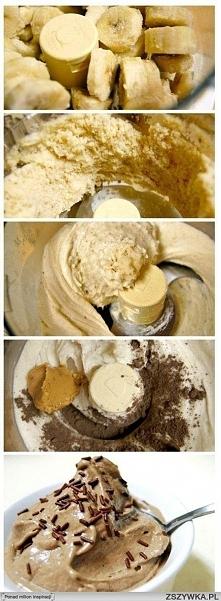 """Banana """"ice-cream"""" Składniki: 3-4 banany pokrojone i zamrożone (pokroić przed zamrożeniem) Łyżka masła orzechowego 2-3 łyżeczki kakao Wykonanie: Potrzebujemy robota ku..."""