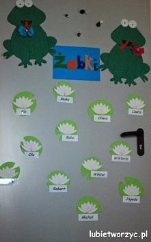 Żabki - dekoracja drzwi przedszkolnej sali dydaktycznej