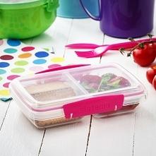 Pojemnik na żywność dwukomorowy plastikowy SISTEMA LUNCHBOX TO GO SMALL SPLIT PINK 0,4 l