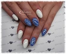 White & Blue   Nails by Monika Sokołowska, Studio Magnetic Nails Kielce, ...