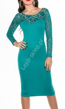 Szmaragdowo zielona sukienka, dzianina 344 -4