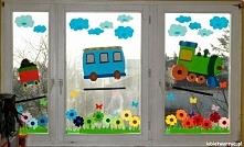 Pociąg i łąka - czyli wiosenna dekoracja okienna