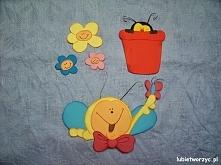 Kwiatki, biedronka w doniczce i pszczółka - dekoracje z papieru