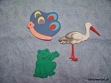 Motyl, bocian i żaba - papierowe dekoracja