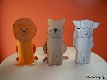 Lew, kot i owca - prace wykonane z rolki po papierze toaletowym i kolorowego papieru