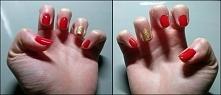 Czerwone ze złotym brokatem