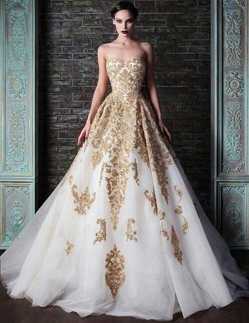 Dopasowana Suknia ślubna Bogato Zdobiona Złotem Na Suknie ślubne I