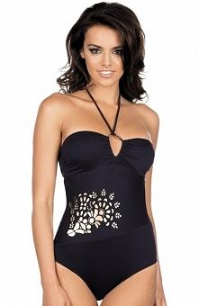 Lorin L4008/6V2 kostium kąpielowy Elegancki, jednoczęściowy kostium kąpielowy, miseczki pięknie wycięte eksponują dekolt, ramiaczka krzyżujące się z przodu ozdobione koralikami
