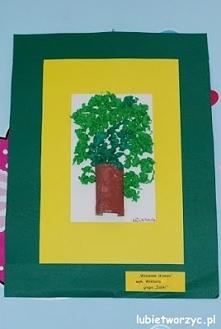 Wystawa prac plastycznych podsumowująca rok szkolny (dzieła wykonane przez dzieci w wieku przedszkolnym)   Drzewo 3D z rolki po papierze toaletowym oraz bibuły