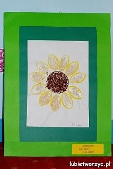 Wystawa prac plastycznych podsumowująca rok szkolny (dzieła wykonane przez dzieci w wieku przedszkolnym)   Słonecznik papierową rolką malowany