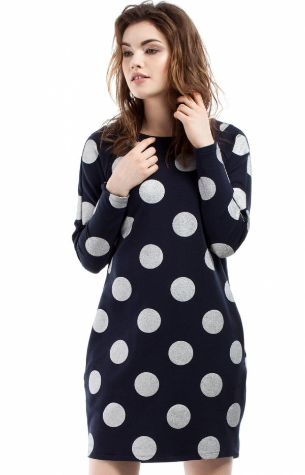 Moe MOE209 sukienka granatowa Komfortowa sukienka, luźny i swobodny fason, wykonana z dresowej dzianiny