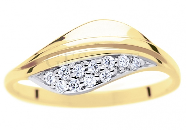 Złoty Pierścionek Zaręczynowy Z Jedenastoma Brylantami O łączne Na