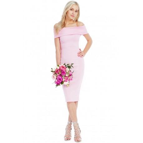Sukienka ołówkowa midi z odsłoniętymi ramionami tuba pudrowy róż