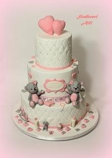 Tort na chrzest. Wszystkie dekoracje wykonuję sama z cukru.