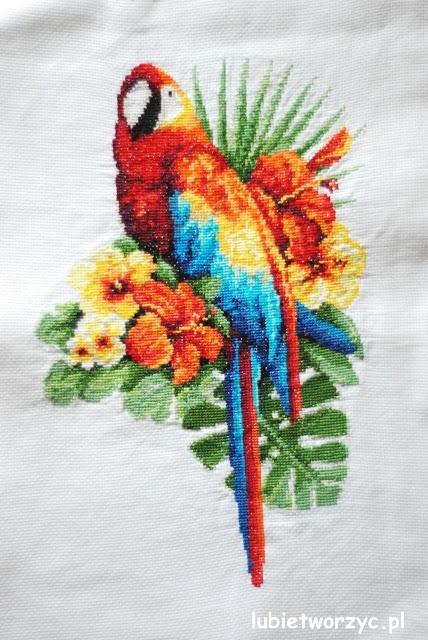 Papuga wykonana za pomocą haftu krzyżykowego