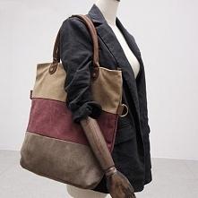 GOVIND TOTE™ Damska torba na ramię, płótno-skóra naturalna
