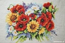 Bukiet kwiatów - haft krzyż...
