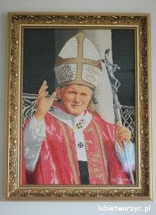 Jan Paweł II - haft krzyżykowy