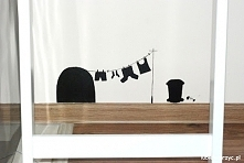Myszka wywiesiła pranie - ręcznie malowana dekoracja ścienna