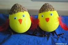 Kurczaczki wykonane ze styropianowego jajka