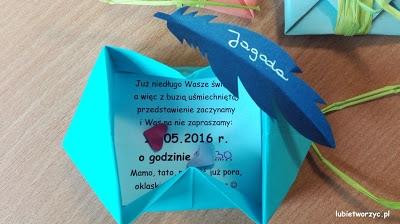 Koperta origami - jako forma zaproszenia na Dzień Mamy i Taty