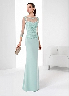 Chiffon Stretch Satin Long Evening Dresses with Beadings