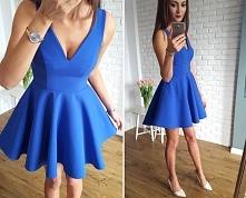 Stylowa sukienka z dłuższym tyłem, na tiulu, na podszewce, kobaltowy Illuminate
