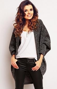 Infinite You M077 narzutka grafitowa Piękny sweterek, niezapinany, luźny faso...