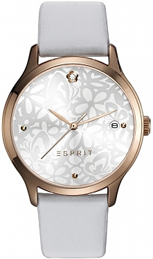 biały zegarek Esprit w kwiatki